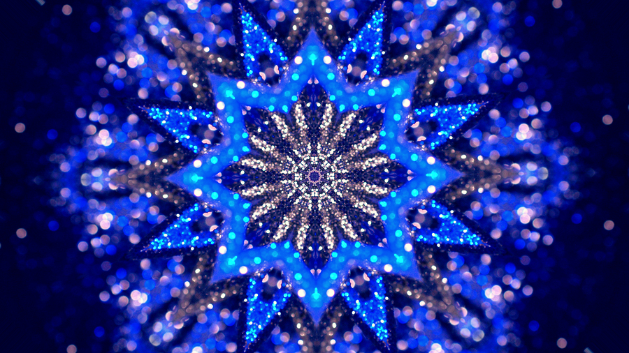 Christmas Mandala-snowflake Kaleidoscope Sequence. Abstract Back