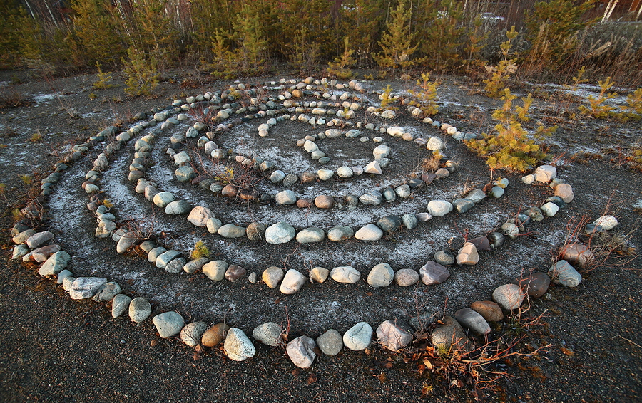 Meditative Rock Maze In The Evening Sun.