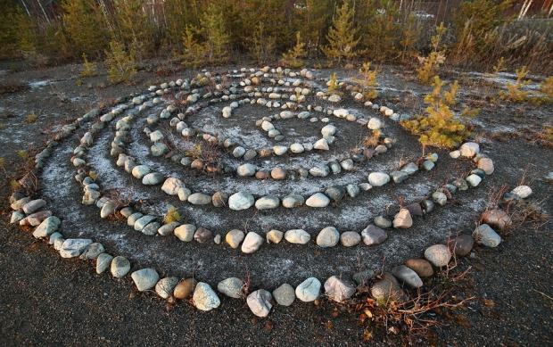 Meditative Rock Maze In The Evening Sun.