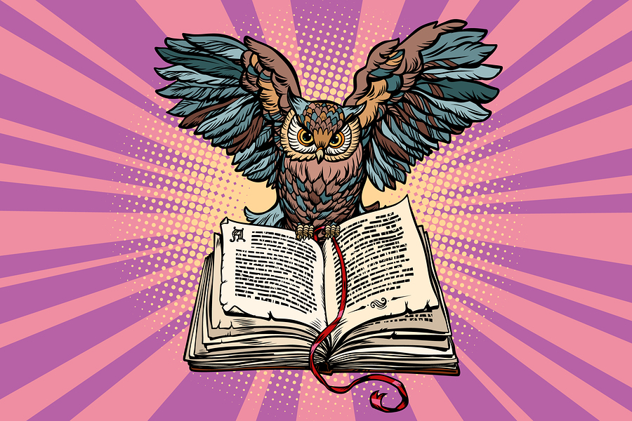 Owl On An Old Book, A Symbol Of Wisdom And Knowledge. Comic Book