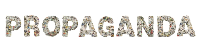 the word     PROPAGANDA made from newspaper confetti isolated on