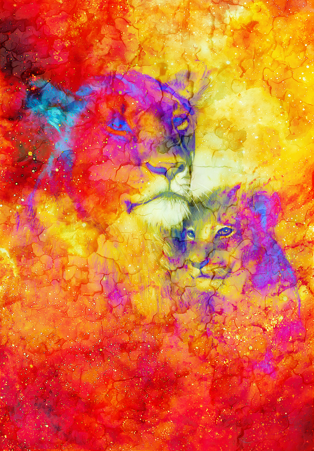 Lioneass and little lion cub in cosmic space. Crackle effect